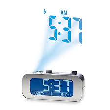 Clock That Shines Time On Ceiling by Brookstone Timesmart Self Setting Projection Clock Bed Bath