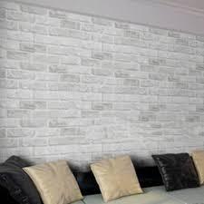 Wallpaper Home Decor 10m White Grey Brick Stone Prepasted Adhesive Contact Paper