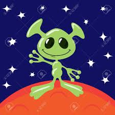 Green Flag With Star And Moon Green Alien On Mars Is Waving Royalty Free Cliparts Vectors And