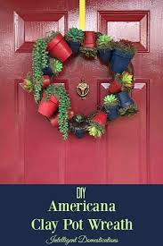 diy americana clay pot wreath wreaths clay and dollar tree crafts