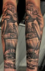 black and grey pirate ship tattoo design for sleeve