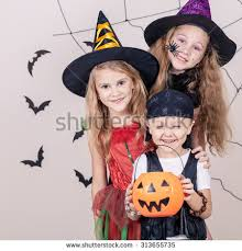 Brother Sister Halloween Costumes Happy Brother Sisters Halloween Stock Photo 314398004