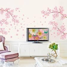 diy romantic pink plum flower tree wall sticker living room