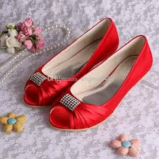 wedding shoes size 12 flats for women mqw 1361 peep toe satin rhinestones