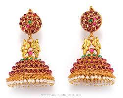 jhumkas earrings antique ruby jhumka earrings south india jewels