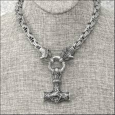stainless steel byzantine necklace images Large stainless steel reversible mjolnir on stainless steel jpg