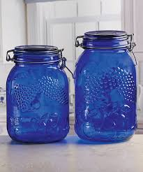 circle glass blue embossed fruit vintage kitchen canister set of