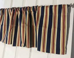 Red Blue Curtains Striped Curtains Etsy