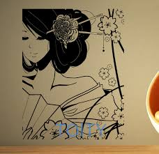 Mural Art Designs by Aliexpress Com Buy Geisha Wall Sticker Japan Pin Up Vinyl