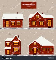 Winter Houses Winter House Collection Vector Image Red Stock Vector 334819067