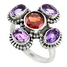 silver amethyst rings images 925 sterling silver natural red garnet purple amethyst ring size 8 JPG