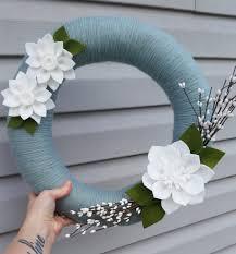Hilo Flowers - corona de hilo guirnalda de primavera fieltro guirnalda por