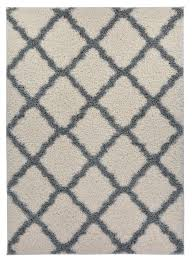 amazon com trellis ivory off white grey shag area rug rugs