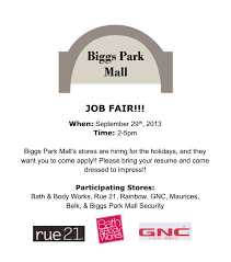 Resume For Mall Jobs Jobs Archives Biggs Park Mall