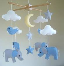 elephant baby mobile in blue and grey felt cloud by uk best cot