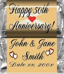 anniversary favors personalized candy bar 50th wedding anniversary favors