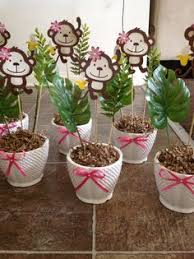 Baby Monkey Centerpieces by Monkey Centerpiece Birthday Things I Made Pinterest