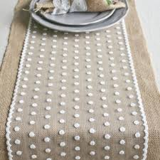 decoration attractive polka dot lace and wide burlap table