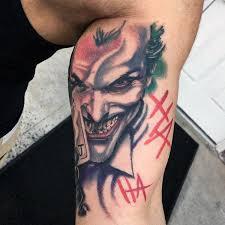 cool inner bicep joker batman tattoos for guys tattoos
