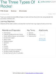 the three types of rocks lesson plan education com