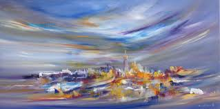 touched by rainbows new york cityscape by sara sherwood oil on canvas