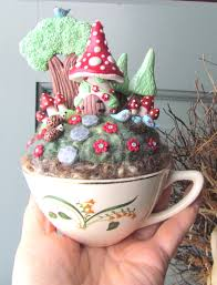 fairy gnome house garden in a cup needle felting polymer clay