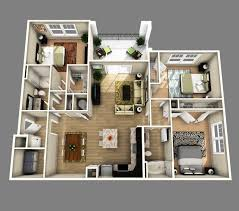 Small House Plans With Open Floor Plan 10 Awesome Two Bedroom Apartment 3d Floor Plans Bedroom