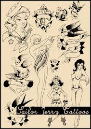 sailor jerry tattoo flash 3 poster print by markpaintandprints