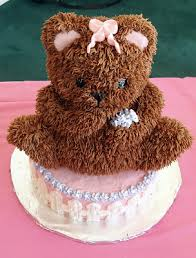 teddy bear cake for baby shower piped buttercream not fondant