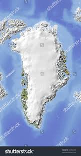 Greenland Map Greenland Shaded Relief Map Colored According Stock Illustration