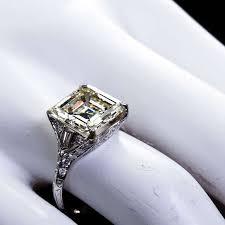 art deco 6 12 carat square emerald cut diamond engagement ring at