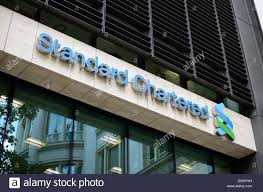 standard chartered bank in basinghall avenue stock photo royalty