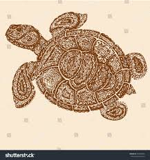 sea turtle illustration paisley mehndi style stock vector
