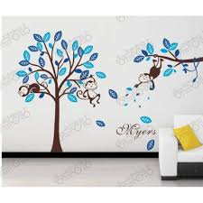 stickers arbre chambre enfant modèle bleu singe et arbres stickers muraux amovibles vinyle
