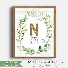 noah nursery name art woodland nursery decor personalized
