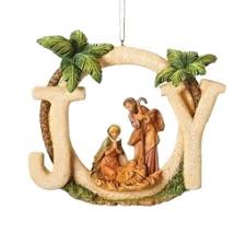 fontanini holy family glass dome and gold stand ornament
