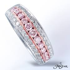 Pink Diamond Wedding Rings by Fancy Pink And White Diamond Band Bigham Jewelers Naples