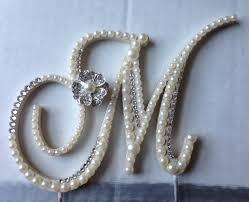 wedding cake topper monogram pearl wedding cake topper w