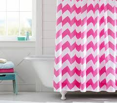 Pink Chevron Curtains Chevron Shower Curtain Pottery Barn