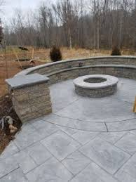 Textured Concrete Patio by Stamped Concrete Patio With Large Ashler Slate Pattern And Stone