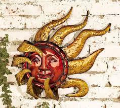 Sun Wall Decor Outdoor Amazon Com Smiling Metal Sun Face Indoor Outdoor Wall Art Home