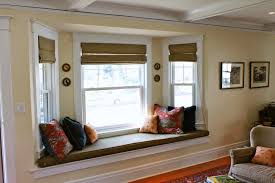 bay window ideas with window seat half way corner window curtain
