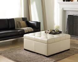 noah storage ottoman in cream leather by sunpan 34943 sunpan