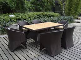 amazing outdoor garden with wood deck also rattan dining set with