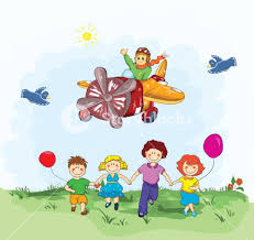 cute kid flying with a plane royalty free stock image storyblocks