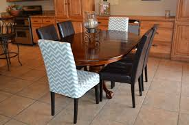 dining room custom monogramed slipcovered parsons chairs with