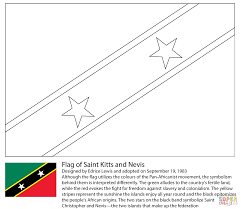 flag of saint kitts and nevis coloring page free printable