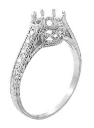 2 carat white gold engagement ring royal crown 1 2 carat antique style engraved 18k white gold