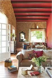 deco campagne chic campagne chic table bois coussins plafond poutres