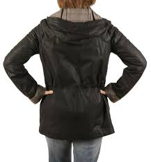 ladies country style matt black leather hooded parker from simons